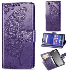 Embossing Mandala Flower Butterfly Leather Wallet Case for Sony Xperia XZ4 Compact - Dark Purple