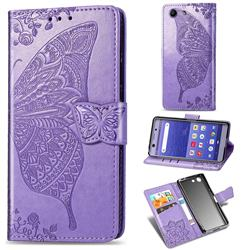Embossing Mandala Flower Butterfly Leather Wallet Case for Sony Xperia XZ4 Compact - Light Purple