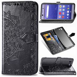 Embossing Imprint Mandala Flower Leather Wallet Case for Sony Xperia XZ4 Compact - Black