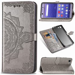 Embossing Imprint Mandala Flower Leather Wallet Case for Sony Xperia XZ4 Compact - Gray