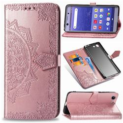 Embossing Imprint Mandala Flower Leather Wallet Case for Sony Xperia XZ4 Compact - Rose Gold