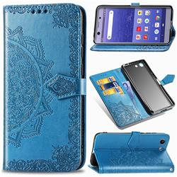 Embossing Imprint Mandala Flower Leather Wallet Case for Sony Xperia XZ4 Compact - Blue