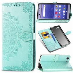 Embossing Imprint Mandala Flower Leather Wallet Case for Sony Xperia XZ4 Compact - Green