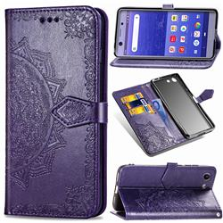 Embossing Imprint Mandala Flower Leather Wallet Case for Sony Xperia XZ4 Compact - Purple