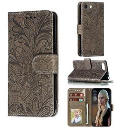 Intricate Embossing Lace Jasmine Flower Leather Wallet Case for Sony Xperia XZ4 Compact - Gray