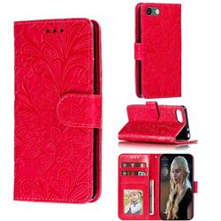 Intricate Embossing Lace Jasmine Flower Leather Wallet Case for Sony Xperia XZ4 Compact - Red