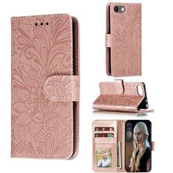 Intricate Embossing Lace Jasmine Flower Leather Wallet Case for Sony Xperia XZ4 Compact - Rose Gold