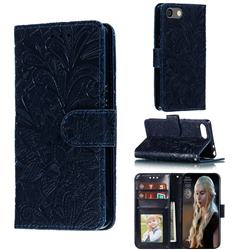 Intricate Embossing Lace Jasmine Flower Leather Wallet Case for Sony Xperia XZ4 Compact - Dark Blue
