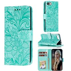 Intricate Embossing Lace Jasmine Flower Leather Wallet Case for Sony Xperia XZ4 Compact - Green
