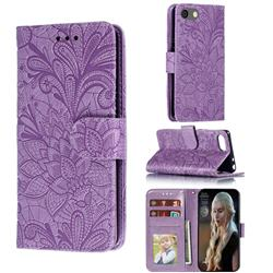 Intricate Embossing Lace Jasmine Flower Leather Wallet Case for Sony Xperia XZ4 Compact - Purple