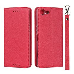 Ultra Slim Magnetic Automatic Suction Silk Lanyard Leather Flip Cover for Sony Xperia XZ4 Compact - Red