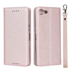 Ultra Slim Magnetic Automatic Suction Silk Lanyard Leather Flip Cover for Sony Xperia XZ4 Compact - Rose Gold