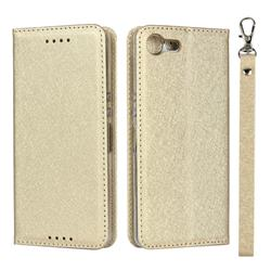 Ultra Slim Magnetic Automatic Suction Silk Lanyard Leather Flip Cover for Sony Xperia XZ4 Compact - Golden