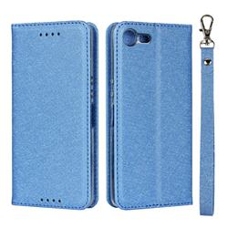Ultra Slim Magnetic Automatic Suction Silk Lanyard Leather Flip Cover for Sony Xperia XZ4 Compact - Sky Blue