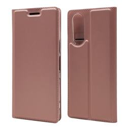 Ultra Slim Card Magnetic Automatic Suction Leather Wallet Case for Sony Xperia 5 / Xperia XZ5 - Rose Gold
