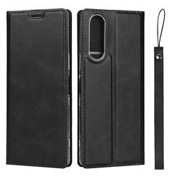 Calf Pattern Magnetic Automatic Suction Leather Wallet Case for Sony Xperia 5 / Xperia XZ5 - Black
