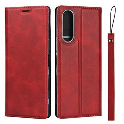 Calf Pattern Magnetic Automatic Suction Leather Wallet Case for Sony Xperia 5 / Xperia XZ5 - Red