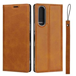 Calf Pattern Magnetic Automatic Suction Leather Wallet Case for Sony Xperia 5 / Xperia XZ5 - Brown
