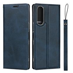Calf Pattern Magnetic Automatic Suction Leather Wallet Case for Sony Xperia 5 / Xperia XZ5 - Blue