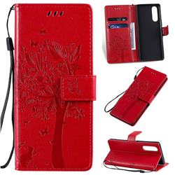 Embossing Butterfly Tree Leather Wallet Case for Sony Xperia 5 / Xperia XZ5 - Red