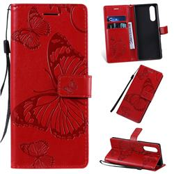 Embossing 3D Butterfly Leather Wallet Case for Sony Xperia 5 / Xperia XZ5 - Red