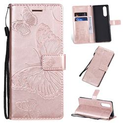 Embossing 3D Butterfly Leather Wallet Case for Sony Xperia 5 / Xperia XZ5 - Rose Gold