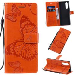 Embossing 3D Butterfly Leather Wallet Case for Sony Xperia 5 / Xperia XZ5 - Orange