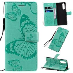Embossing 3D Butterfly Leather Wallet Case for Sony Xperia 5 / Xperia XZ5 - Green