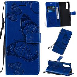 Embossing 3D Butterfly Leather Wallet Case for Sony Xperia 5 / Xperia XZ5 - Blue