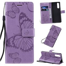 Embossing 3D Butterfly Leather Wallet Case for Sony Xperia 5 / Xperia XZ5 - Purple