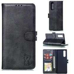 Embossing Happy Cat Leather Wallet Case for Sony Xperia 5 / Xperia XZ5 - Black
