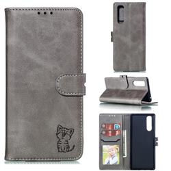 Embossing Happy Cat Leather Wallet Case for Sony Xperia 5 / Xperia XZ5 - Gray