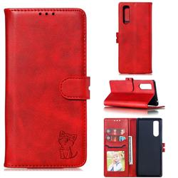 Embossing Happy Cat Leather Wallet Case for Sony Xperia 5 / Xperia XZ5 - Red