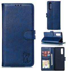 Embossing Happy Cat Leather Wallet Case for Sony Xperia 5 / Xperia XZ5 - Blue