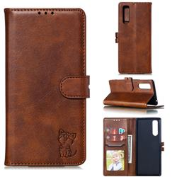 Embossing Happy Cat Leather Wallet Case for Sony Xperia 5 / Xperia XZ5 - Brown