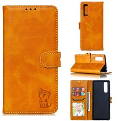 Embossing Happy Cat Leather Wallet Case for Sony Xperia 5 / Xperia XZ5 - Yellow