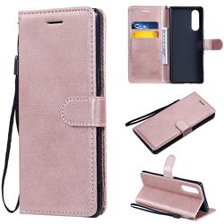 Retro Greek Classic Smooth PU Leather Wallet Phone Case for Sony Xperia 5 / Xperia XZ5 - Rose Gold