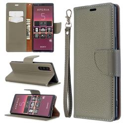 Classic Luxury Litchi Leather Phone Wallet Case for Sony Xperia 5 / Xperia XZ5 - Gray