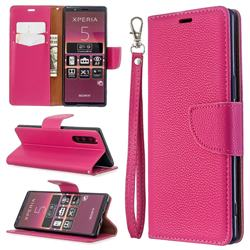 Classic Luxury Litchi Leather Phone Wallet Case for Sony Xperia 5 / Xperia XZ5 - Rose
