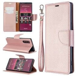 Classic Luxury Litchi Leather Phone Wallet Case for Sony Xperia 5 / Xperia XZ5 - Golden