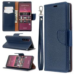 Classic Luxury Litchi Leather Phone Wallet Case for Sony Xperia 5 / Xperia XZ5 - Blue