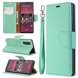 Classic Luxury Litchi Leather Phone Wallet Case for Sony Xperia 5 / Xperia XZ5 - Green