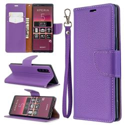 Classic Luxury Litchi Leather Phone Wallet Case for Sony Xperia 5 / Xperia XZ5 - Purple