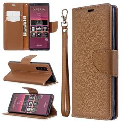 Classic Luxury Litchi Leather Phone Wallet Case for Sony Xperia 5 / Xperia XZ5 - Brown