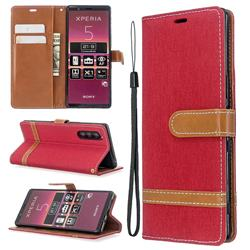 Jeans Cowboy Denim Leather Wallet Case for Sony Xperia 5 / Xperia XZ5 - Red