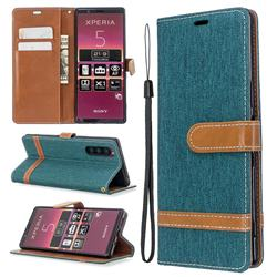 Jeans Cowboy Denim Leather Wallet Case for Sony Xperia 5 / Xperia XZ5 - Green
