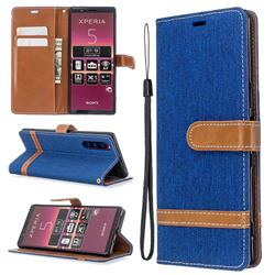 Jeans Cowboy Denim Leather Wallet Case for Sony Xperia 5 / Xperia XZ5 - Sapphire