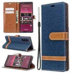 Jeans Cowboy Denim Leather Wallet Case for Sony Xperia 5 / Xperia XZ5 - Dark Blue