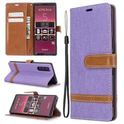 Jeans Cowboy Denim Leather Wallet Case for Sony Xperia 5 / Xperia XZ5 - Purple