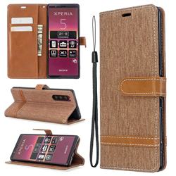 Jeans Cowboy Denim Leather Wallet Case for Sony Xperia 5 / Xperia XZ5 - Brown